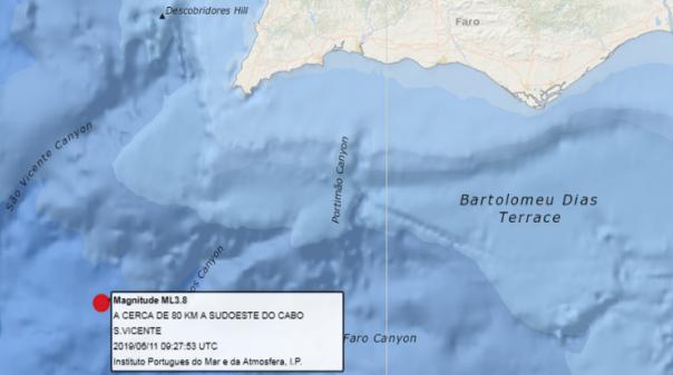 Sismo em pleno Atlântico a 80 km de Sagres