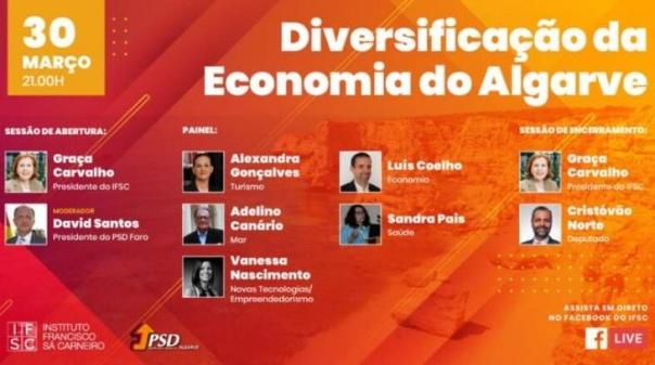 Instituto Francisco Sá Carneiro e PSD/Algarve promovem webinar «Diversificação da Economia do Algarve»